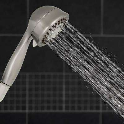 5-Spray 3.5 in. Single Wall Mount Low Flow Handheld Adjustable Shower Head in Brushed Nickel