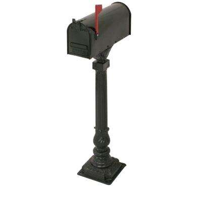 Cleveland 50 in. Aluminum Black Mailbox and Post