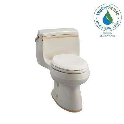 Gabrielle Comfort Height 1-Piece 1.28 GPF Single Flush Elongated Toilet with Prairie Flowers Design in Biscuit