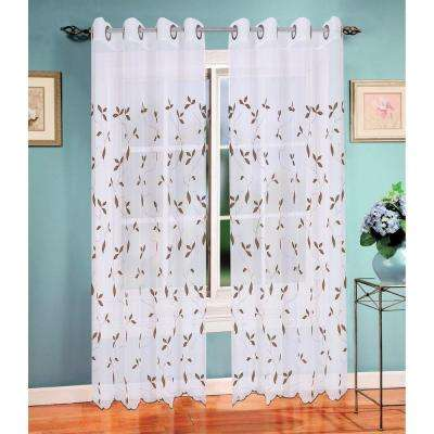 Sheer Birch Leaf Embroidered Sheer Grommet Extra Wide Curtain Panel