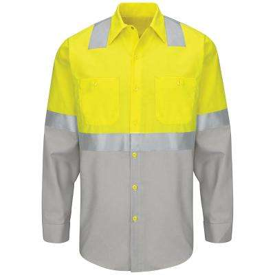 Class 2 Level 2 Men's Yellow/Green with Grey Ripstop Hi-Visibility Color Block Work Shirt