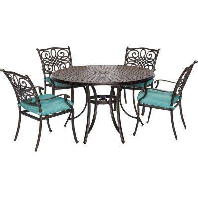 Traditions 5-Piece Aluminum Round Outdoor Dining Set with Protective Cover and Blue Cushions