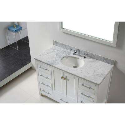 Caroline Avenue 49 in. W Bath Vanity in White with Marble Vanity Top in White with Round Basin and Mirror
