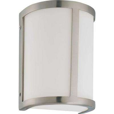 Andra 1-Light Brushed Nickel Sconce with Satin White Glass