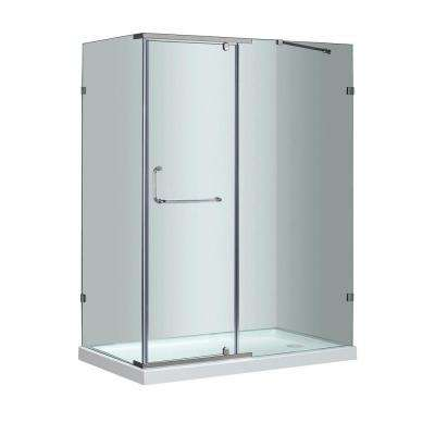 SEN975 60 in. x 35 in. x 77-1/2 in. Semi-Frameless Shower Enclosure in Stainless Steel with Right Base