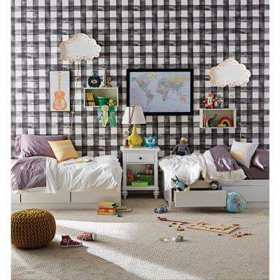 56 Sq Ft Black And White Watercolor Check Removable Wallpaper