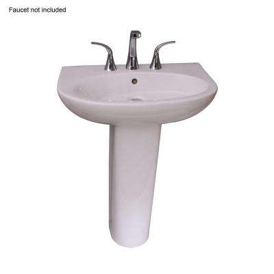 Infinity 600 24 in. Pedestal Combo Bathroom Sink for 8 in. Widespread in White
