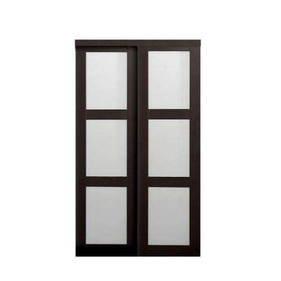 2290 Series Composite Espresso 3-Lite Tempered Frosted Glass Sliding Door  sc 1 st  The Home Depot & Sliding Doors - Interior u0026 Closet Doors - The Home Depot