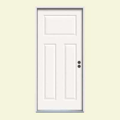 3-Panel Painted Steel Prehung Front Door with Brickmold
