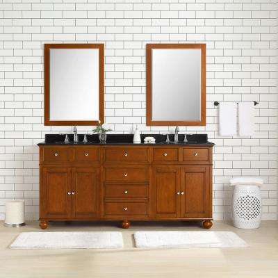 Hampton Harbor 72 in. W x 22 in. D Vanity in Sequoia with Granite Vanity Top in Black with White Sink