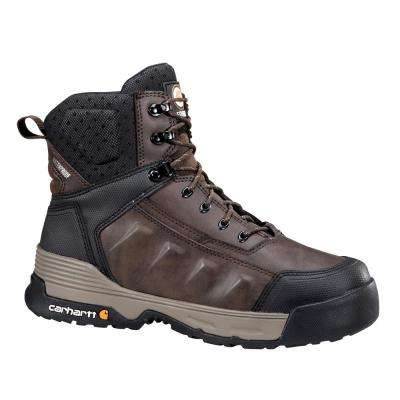 FORCE Men's Brown Leather Waterproof Composite Safety Toe Lace-up Work Boot