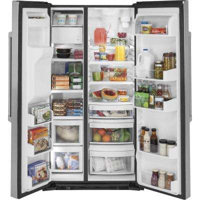 36 in. W 21.9 cu. ft. Built-in Side by Side Refrigerator in Stainless Steel