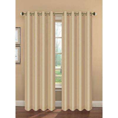 Semi-Opaque Camilla Faux Silk 84 in. L Extra Wide Room Darkening Grommet Curtain Panel Pair, Beige (Set of 2)