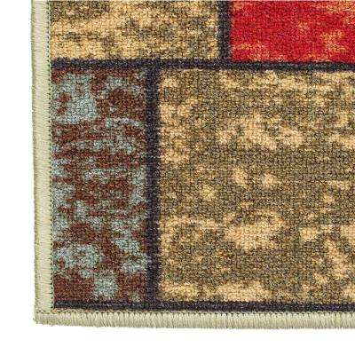 Ottohome Collection Contemporary Boxes Design Multi 3 ft. x 5 ft. Area Rug