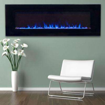 54 in. LED Fire and Ice Electric Fireplace with Remote in Black