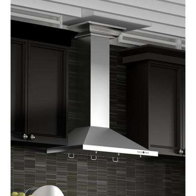 ZLINE 36 in. 760 CFM Wall Mount Range Hood in Stainless Steel with Crown Molding