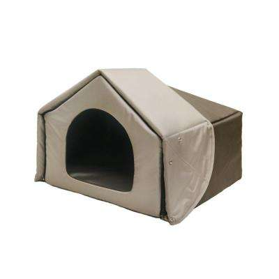 Convertible House Charcoal Brown Polyester Pet Bed