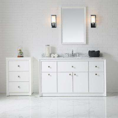 Parrish 60 in. W x 22 in. D Bath Vanity in Bright White with Marble Top in Gray/White