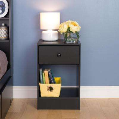 Astrid Tall 1-Drawer Nightstand in Black