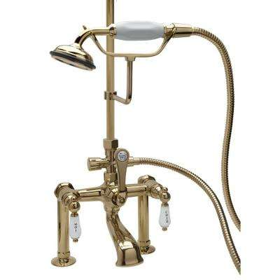 RM23 3-Handle Claw Foot Tub Faucet with Handshower in Polished Brass