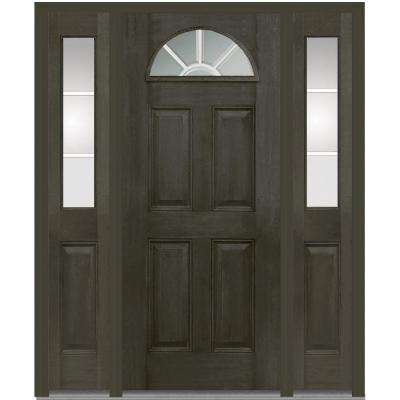 68.5 in. x 81.75 in. Classic Clear Glass GBG 1/4 Lite 4 Panel Finished Fiberglass Mahogany Exterior Door with Sidelites