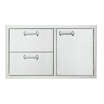 36 in. Storage Door and Fully Enclosed Double Drawers