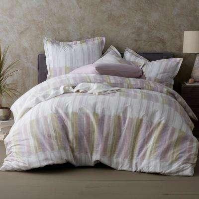 Watercolor Stripe Organic Cotton Percale Duvet Cover