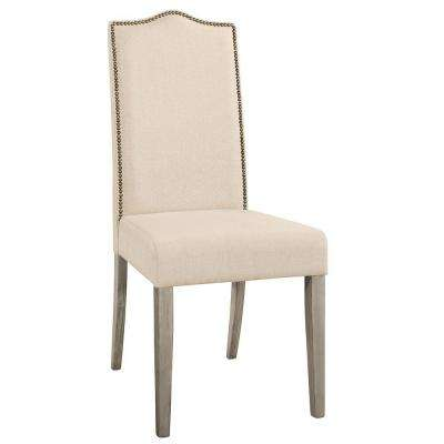 Romero Parson Chair Solid Wood in Weathered Gray with Linen