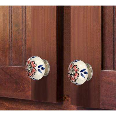 Flower de-Top 1-3/5 in. (41 mm) Blue and Cream Cabinet Knob (Pack of 5)