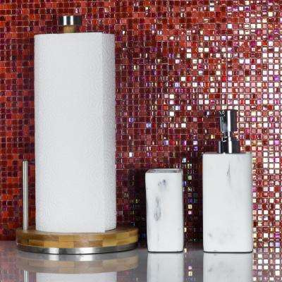 Galaxy Nebula Red Square Mosaic 0.3125 in. x 0.3125 in. Iridescent Glass Wall Tile (0.98 Sq. ft.)