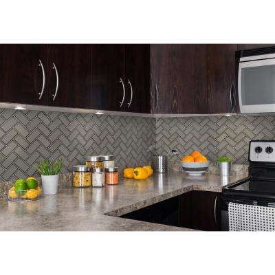 Champagne Herringbone 13.86 in. x 11.08 in. x 8mm Textured Glass Mesh-Mounted Mosaic Tile (0.97 sq. ft.)