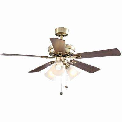 Sinclair 44 in. LED Indoor Flemish Brass Ceiling Fan with Light Kit