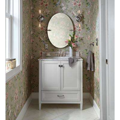 Claxby 31 in. W x 38 in. H x 22 in. D Bathroom Vanity in Cream with Stone Effects Vanity Top in Winter Mist