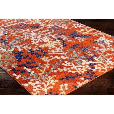 Emira Bright Orange 5 ft. 3 in. x 7 ft. 3 in. Floral Area Rug