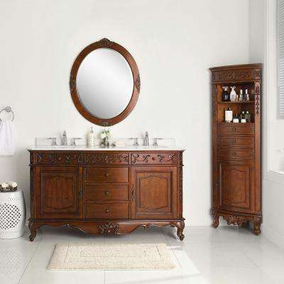 Winslow 60 in. W x 22 in. D Vanity in Antique Cherry with Marble Vanity Top in White with White Sink