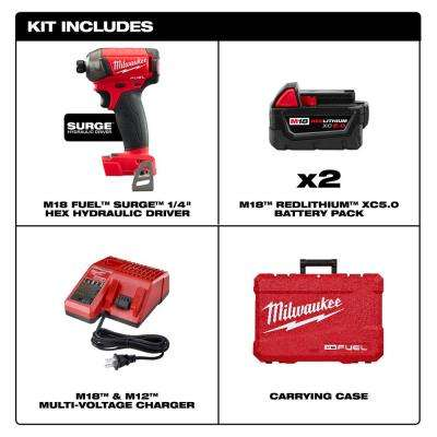 M18 FUEL SURGE 18-Volt Lithium-Ion Brushless Cordless 1/4 in. Hex Impact Driver Compact Kit with Two 5.0 Ah Batteries