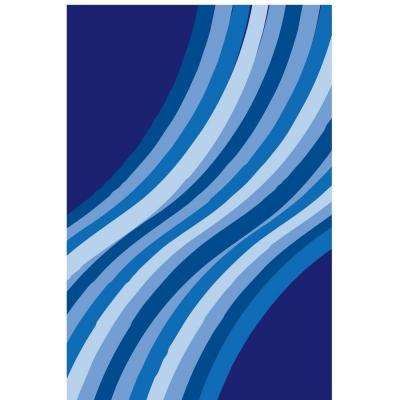 Fun Time Wacky Blue Wave Multi Colored 3 ft. 3 in. x 4 ft. 10 in. Area Rug
