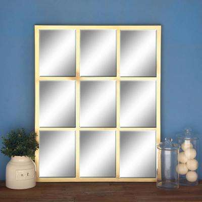 34 in. x 27 in. Gold Paneled Frame Wall Mirror