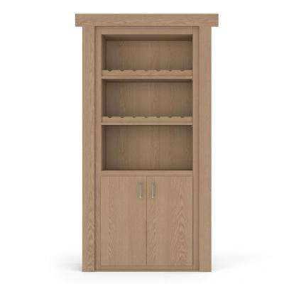 30 in. x 80 in. Flush Mount Assembled Oak Unfinished Right-Hand Outswing Wine Rack Door