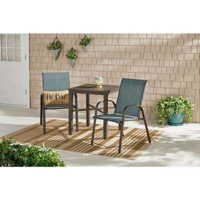 Mix and Match Dark Taupe Steel Sling Outdoor Patio Dining Chair in Conley Denim Blue (2-Pack)