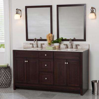 Brinkhill 61 in. W x 22 in. D Bathroom Vanity in Chocolate with Stone Effect Vanity Top in Winter Mist with White Basin