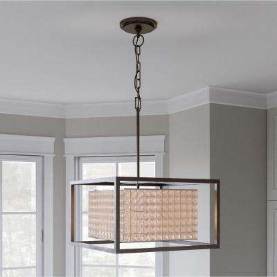 Shimmer Collection 4-Light Square Graphite Pendant with Clear Crystal Shade