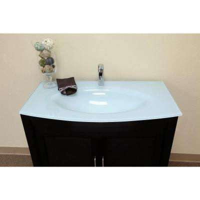 Bradford ES 40 in. Single Vanity in Dark Espresso with Glass Vanity Top in Glacier