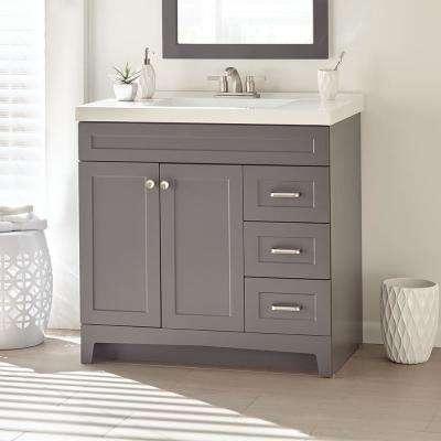 Thornbriar 37 in. W x 22 in. D x 37 in. H Bath Vanity in Cement w/ Cultured Marble Vanity Top in White w/ White Sink