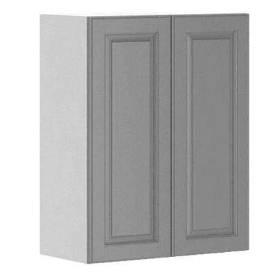 24x30x12.5 in. Buckingham Wall Cabinet in White Melamine and Door in Gray