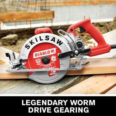 15 Amp Corded Electric 7-1/4 in. Magnesium Worm Drive Circular Saw with 24-Tooth Carbide Tipped Diablo Blade