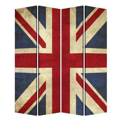 UNION JACK 7 ft. Multi-color 4-Panel Room Divider