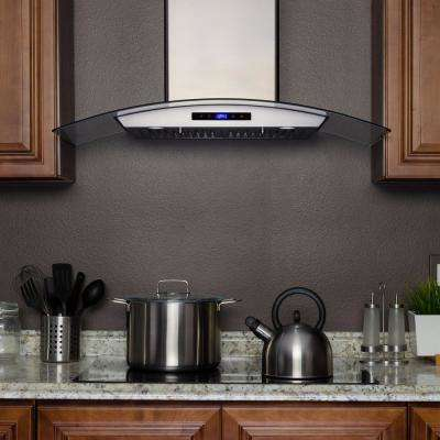 30 in. Convertible Wall Mount Range Hood in Stainless Steel with Tempered Glass and Touch Control