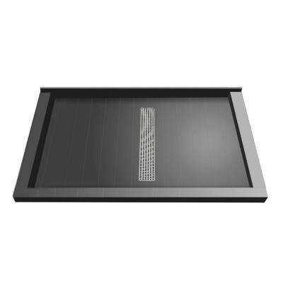 36 in. x 60 in. Triple Threshold Shower Base with Center Drain and Polished Chrome Trench Grate
