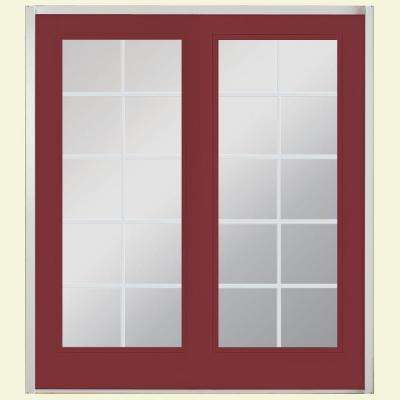 72 in. x 80 in. Red Bluff Prehung Right-Hand Inswing 10 Lite Steel Patio Door with No Brickmold
